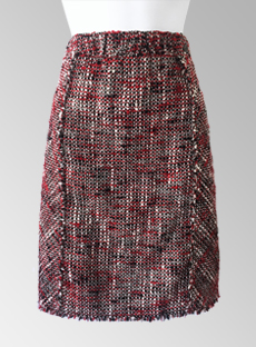 CHANEL Class Red Black White Boucle Skirt