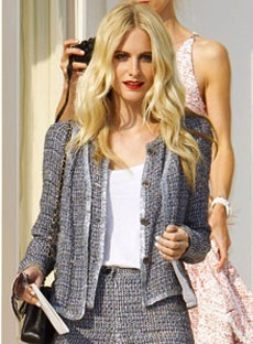 Blake Lively in CHANEL 2011 Strass Crystal Trim Tweed Jacket